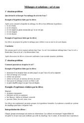 Fiche – Expérience- Fiches Mélanges et solutions (sel et eau) : 3eme Primaire