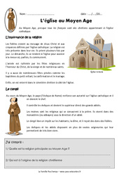 Eglise au Moyen Age – Exercices – Documentaire : 4eme Primaire