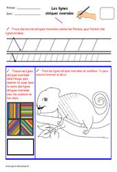 Lignes obliques inversées – Fichier graphisme : 1ere, 2eme, 3eme Maternelle – Cycle Fondamental