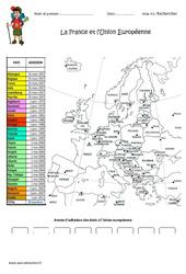 La France et l'Union Européenne – Exercices : 4eme Primaire