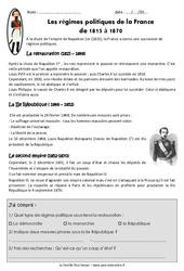 Régimes politiques de la France de 1815 à 1870 – Exercices : 5eme Primaire