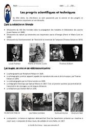 Progrès scientifiques et techniques au XIXe siècle – Exercices : 5eme Primaire