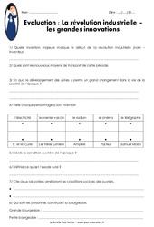 Révolution industrielle – Innovations – Société – Examen Evaluation : 5eme Primaire