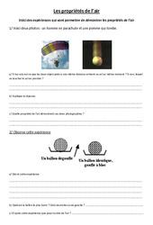 Propriétés de l'air – Exercices – Sciences : 4eme, 5eme Primaire