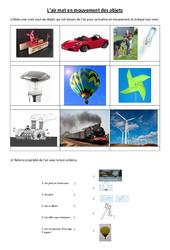 L'air met en mouvement des objets – Exercices – Sciences : 4eme, 5eme Primaire