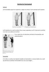 Vertical et horizontal – Cours, Leçon – Sciences : 4eme, 5eme Primaire