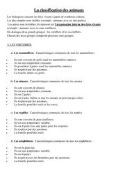 Classification des animaux – Cours, Leçon – Sciences : 4eme Primaire