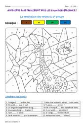 Terminaison des verbes du 1er groupe – Coloriage magique : 5eme Primaire
