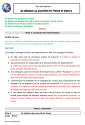 Se déplacer au quotidien en France et ailleurs – Plan de séquence : 5eme Primaire