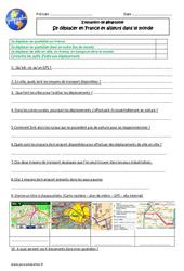 Se déplacer en France et ailleurs dans le monde – Examen Evaluation : 5eme Primaire