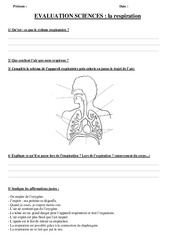 Respiration – Examen Evaluation : 3eme, 4eme, 5eme Primaire