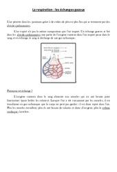 La respiration – les échanges gazeux – Cours, Leçon – Sciences : 4eme, 5eme Primaire