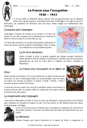 La France sous l'occupation – Exercices : 5eme Primaire