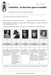 2ème guerre mondiale 1939 – 1945 – Examen Evaluation : 5eme Primaire