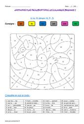 N ou M devant M, P , B – Coloriage magique : 3eme, 4eme Primaire