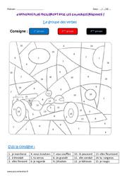 Groupe des verbes – Coloriage magique : 3eme Primaire