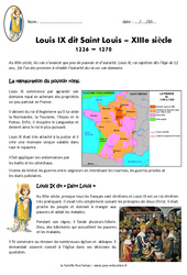 Louis IX – Saint Louis – Exercices : 4eme Primaire
