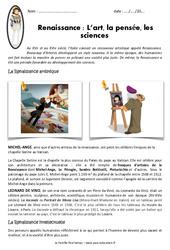 Renaissance – Fiches L'art, la pensée, les sciences – Exercices : 4eme Primaire