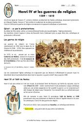 Henri IV et les guerres de religion 1589 – 1610 – Exercices : 4eme Primaire