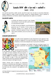Louis XIV – Le roi soleil 1643 – 1715 – Exercices : 4eme Primaire