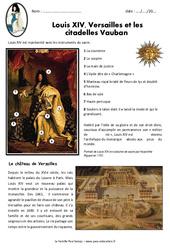 Louis XIV, Versailles et les  citadelles Vauban – Exercices : 4eme Primaire