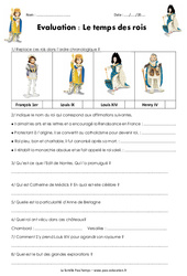Temps des rois – Examen Evaluation : 4eme Primaire