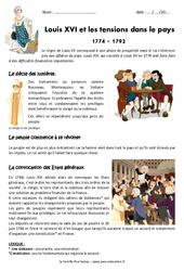 Tensions dans le pays – Louis XVI et la révolution – Exercices : 4eme Primaire
