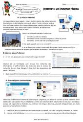 Internet – Fiches un immense réseau – Exercices : 5eme Primaire