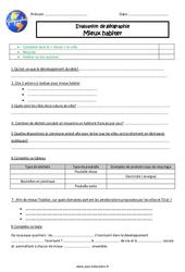 Mieux habiter – Examen Evaluation : 5eme Primaire