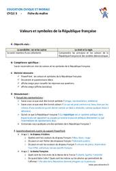 Valeurs et symboles de la République française – Fiche de préparation : 4eme, 5eme Primaire