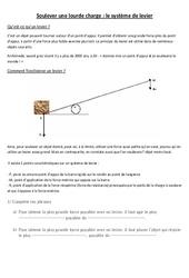 Leviers et balances- Fiches Documents + questions – Les leviers : 3eme, 4eme, 5eme Primaire