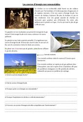 Sources d'énergie non renouvelables – Exercices – Sciences : 4eme, 5eme Primaire