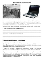 Introduction à l'informatique – A quoi servent les ordinateurs – Sciences : 3eme, 4eme, 5eme Primaire