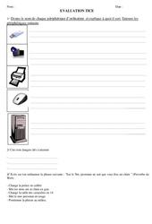 Informatique- Fiches Evaluation TICE : 3eme, 4eme, 5eme Primaire
