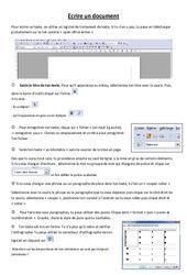 Fiche élève Ecrire un document – Informatique – Sciences : 3eme, 4eme, 5eme Primaire