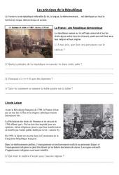 Les principes de la République – La république – Documents, questions, corrigé : 4eme, 5eme Primaire