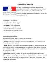 La république française – La république – Cours, Leçon : 4eme, 5eme Primaire