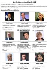 Les élections présidentielles de 2012 – Fiche – Exercices : 3eme, 4eme, 5eme Primaire