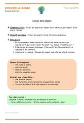 Situer des objets – Fiche de préparation : 3eme Maternelle – Cycle Fondamental