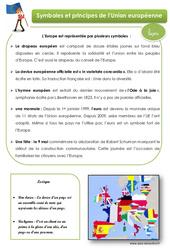 Symboles et principes de l'Union européenne – Cours, Leçon : 4eme, 5eme Primaire