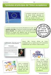 Symboles et principes de l'Union européenne – Exercices + Diaporama : 4eme, 5eme Primaire