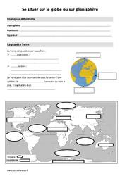 Se situer sur le globe ou sur planisphère – Cours, Leçon : 3eme Primaire