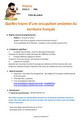 Traces d'une occupation ancienne du territoire français – Fiche de préparation : 3eme, 4eme Primaire