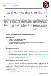 Droits et devoirs en classe – Fiche de préparation : 4eme, 5eme Primaire