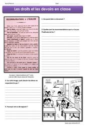 Droits et devoirs en classe – Exercices : 4eme, 5eme Primaire