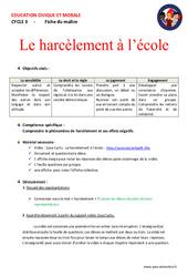 Le harcèlement à l'école – Fiche de préparation – EMC : 4eme, 5eme Primaire