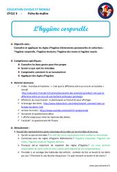 Hygiène corporelle – Fiche de préparation – EMC : 4eme, 5eme Primaire