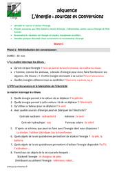 Energie – Sources et convertions – Fiche de préparation : 4eme, 5eme Primaire