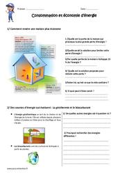 Consommation et économie d'énergie – Exercices : 4eme, 5eme Primaire