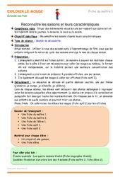 Saisons – Fiche de préparation : 3eme Maternelle – Cycle Fondamental
